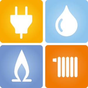4 Symbole Strom Gas Wasser Wrme