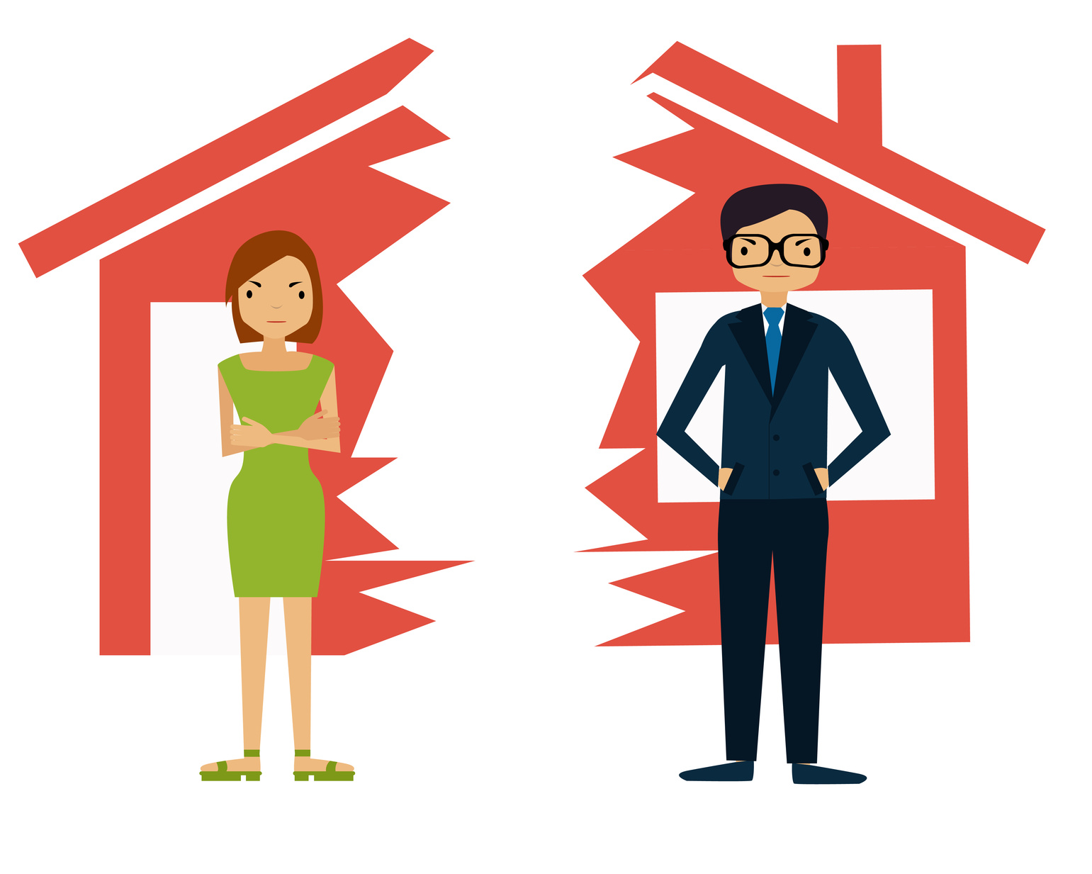 Divorce. Man and woman divide house.